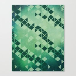 Forest Green -  Geometric Triangle Pattern Canvas Print