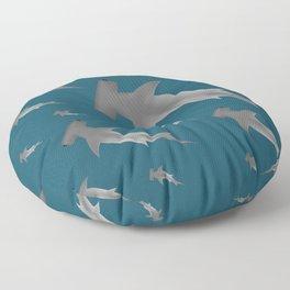 Hammerhead shark school Floor Pillow