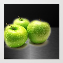 Wet Green Apples on Metallic Background Canvas Print