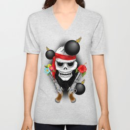 Pirate Skull, Ancient Guns, Flowers and Cannonballs Unisex V-Neck