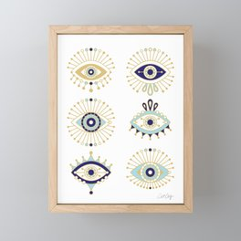 Evil Eye Collection on White Framed Mini Art Print