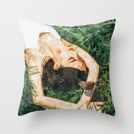 Jungle Vacay #painting #portrait Throw Pillow