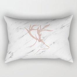 Rose gold deer - soft white marble Rectangular Pillow