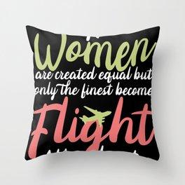 Women Flight Attendant Throw Pillow