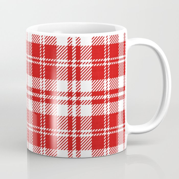 Cozy Plaid in Red and White Coffee Mug