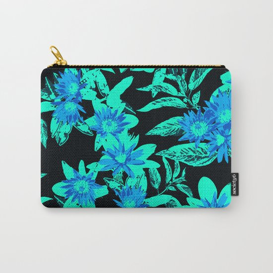 Bright Blue Vintage Blooms Carry-All Pouch