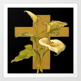 Three Calla Lilies And Christian Cross Art Print