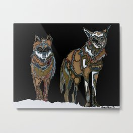 Two wolves in the snow Metal Print