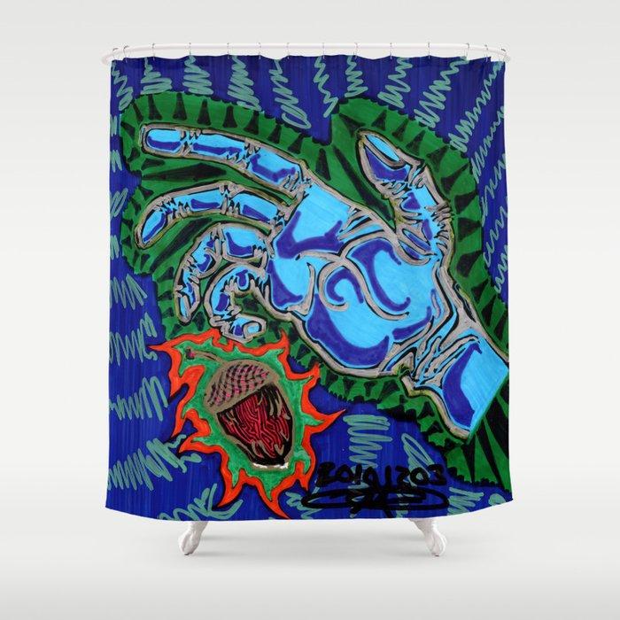 Blue Hand Grabbing Acorn Shower Curtain