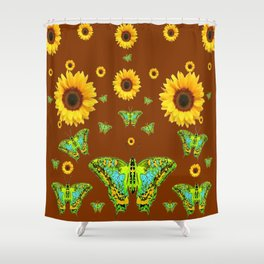 COFFEE BROWN SUNFLOWERS & GREEN MOTHS Shower Curtain