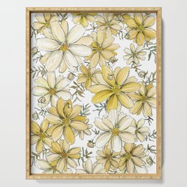 Gold and Cream Summer Floral Pattern Serving Tray