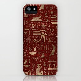Ancient Egyptian hieroglyphs - Red Leather and gold iPhone Case
