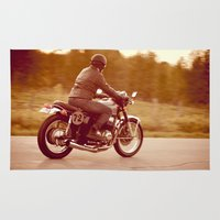 cafe racer Area & Throw Rugs featuring Vintage cafe racer by gabyjalbert