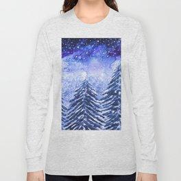 pine forest under galaxy Long Sleeve T-shirt