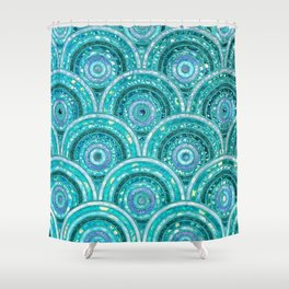 Aqua Blue Silver and Green Sparkling Glitter Circles Shower Curtain