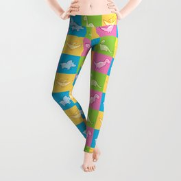Colorful dinosaurs and pterodactyl cheater quilt Leggings