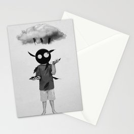 rain    black and white, oo, cloud, surrealism, feathers Stationery Cards