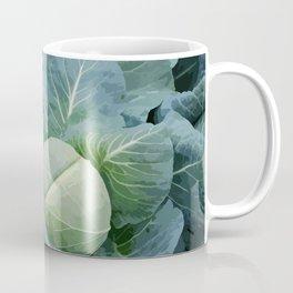 White cabbage on the farmland   Dutch food   Illustration   Green Coffee Mug