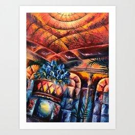 """Palm Court"" Painting Art Print"