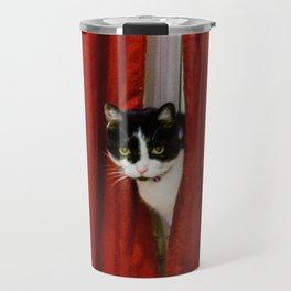 Peek-A-Boo Tuxedo Kitty Travel Mug