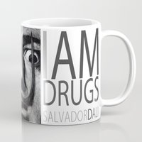 dali Mugs featuring I am drugs ( Salvador Dali ) by Black Neon