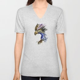 Golden Eagle - Colorful Watercolor Painting Unisex V-Neck
