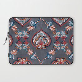 Floral Ogees in Red & Blue on Grey Laptop Sleeve