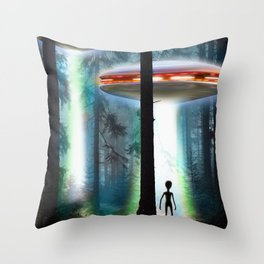 UFO Alien Forest / Flying Saucers Throw Pillow