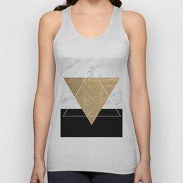Golden marble deco geometric Unisex Tank Top