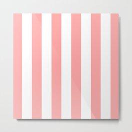 Coral Pink Stripe Vertical Metal Print