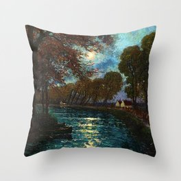Chemin de Halage along the River Lot, France by Eugene Chigot Throw Pillow