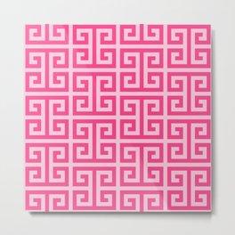 Girly Pink Large Greek Key Pattern Comforters Metal Print