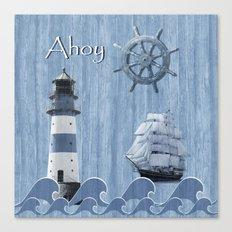 Ahoy - Maritime blue Canvas Print