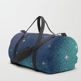 Lilac and Aqua Pixel Galaxy Duffle Bag