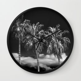 Palm Trees in Black and White on Cabrillo Beach Wall Clock