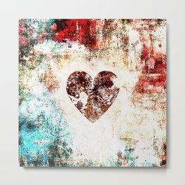 Vintage Heart Abstract Design Metal Print