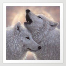 Wolves Howling Moon - Love Song Art Print