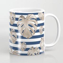 Monstera Pattern on Stripes #1 #tropical #pattern #decor #art #society6 Coffee Mug
