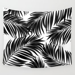 Palm Tree Fronds Black on White Maui Hawaii Tropical Graphic Design Wall Tapestry