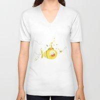 yellow submarine V-neck T-shirts featuring Baby's yellow submarine by La Bella Leonera