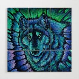 Blue Wolf Aurora Colorful Fantasy Wood Wall Art