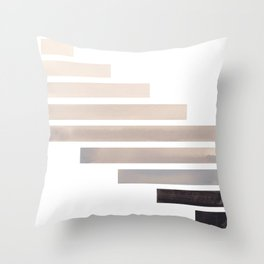 Grey Midcentury Modern Minimalist Staggered Stripes Rectangle Geometric Aztec Pattern Watercolor Art Throw Pillow