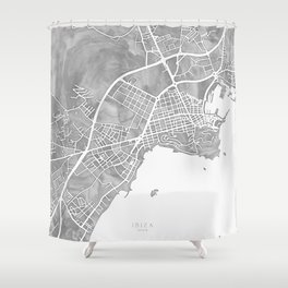Grayscale watercolor map of Ibiza, Spain Shower Curtain