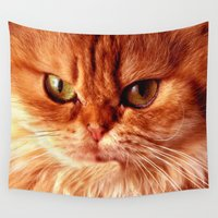 persian Wall Tapestries featuring Funny Persian Cat by Erika Kaisersot