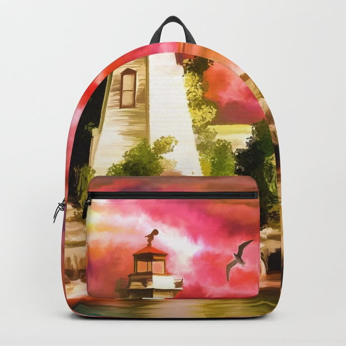Watercolor Sunset at the Lighthouse (Color) Backpack