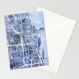 Chicago City Street Map Stationery Cards