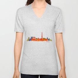 Paris City Skyline Hq v2 Unisex V-Neck