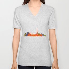 Paris City Skyline Hq v2 Unisex V-Neck