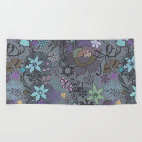 Colorful grey xmas pattern Beach Towel