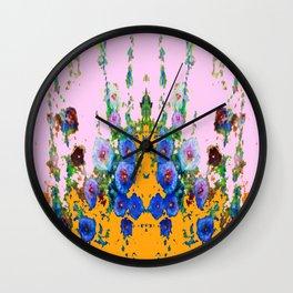BLUE HOLLYHOCKS WESTERN  GARDEN Wall Clock
